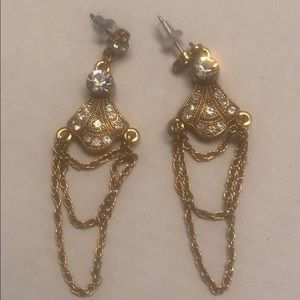 Post Crystal Chains Gold Earrings